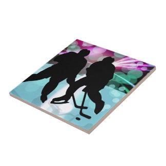 Hockey Duo Face Off Ceramic Tile