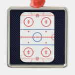 Hockey Game Companion Carbon Fibre Style Silver-Colored Square Decoration