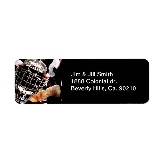Hockey Gear Grunge Style Return Address Label