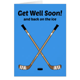 Hockey Get Well Soon Crossed Hockey Sticks Blue Card