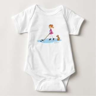 Hockey Girl Cartoon Pink Baby Bodysuit