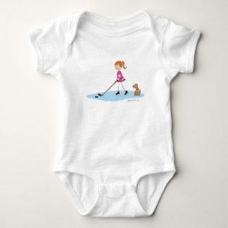 Hockey Girl Cartoon Pink Baby Bodysuit