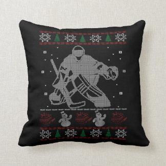 Hockey Goalie Christmas Cushion