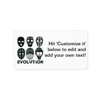 Hockey Goalie Mask Evolution Label