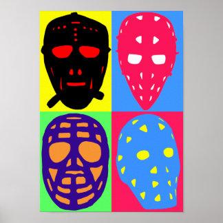 Hockey Goalie Masks Pop Art Poster