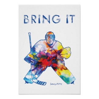 Hockey Goalie Watercolor Poster
