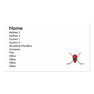 Hockey Helmet & Cross Sticks Red Double-Sided Standard Business Cards (Pack Of 100)