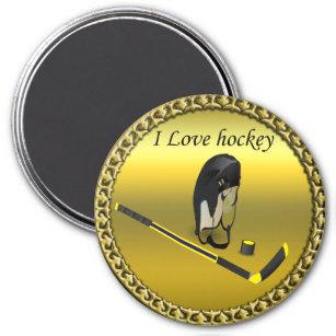 Hockey I Love custom design with stick and helmet Magnet