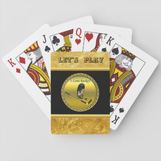 Hockey I Love custom design with stick and helmet Playing Cards