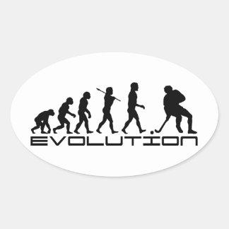 Hockey Ice Hockey Sport Evolution Art Oval Sticker