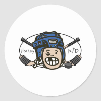 Hockey Kid Blue Round Sticker