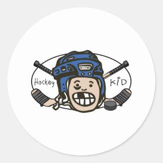 Hockey Kid Blue Round Sticker