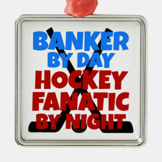 Hockey Lover Banker Silver-Colored Square Decoration