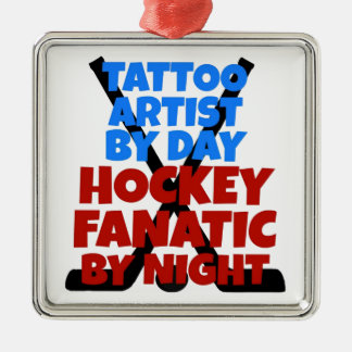 Hockey Lover Tattoo Artist Silver-Colored Square Decoration
