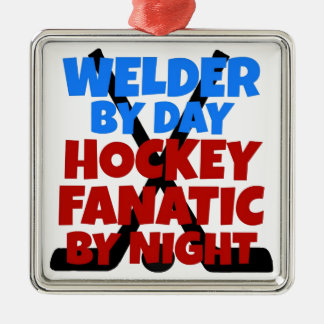 Hockey Lover Welder Metal Ornament