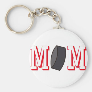Hockey Mom Basic Round Button Key Ring