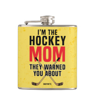 Hockey Mom They Warned You About Yellow Red Hip Flask