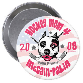 Hockey Moms Pit Bull Lipstick 2 Button