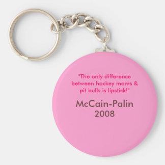 Hockey moms & Pit Bulls & Lipstick McCain-Palin 08 Basic Round Button Key Ring