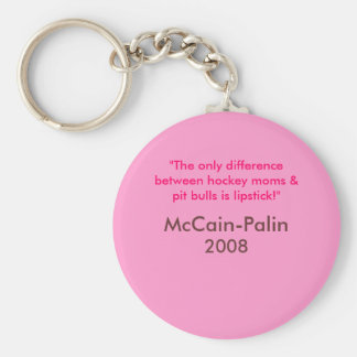 Hockey moms & Pit Bulls & Lipstick McCain-Palin 08 Key Ring