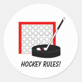 Hockey Net, Stick and Puck Round Sticker