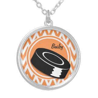 Hockey Orange and White Chevron Necklace