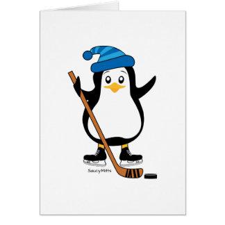 Hockey Penguin Greeting Card