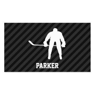 Hockey Player; Black & Dark Gray Stripes Double-Sided Standard Business Cards (Pack Of 100)