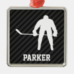 Hockey Player; Black & Dark Grey Stripes Silver-Colored Square Decoration