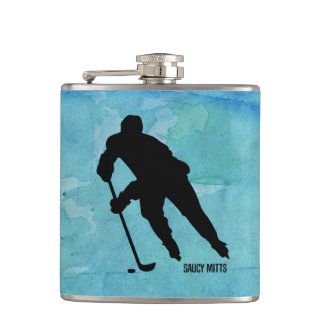 Hockey Player on Blue Watercolor Hip Flask