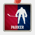 Hockey Player; Red, White, and Blue Silver-Colored Square Decoration