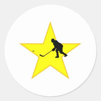 Hockey Player Silhouette Star Round Sticker