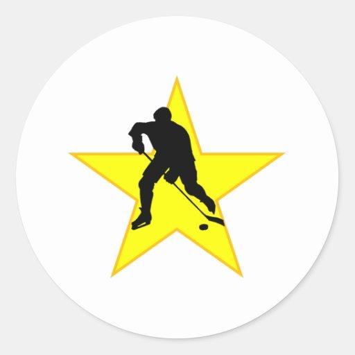 Hockey Player Silhouette Star Round Stickers