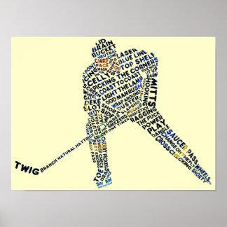 Hockey Player Typography Print