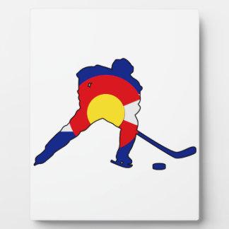 Hockey Player With Colorado Pride Plaque
