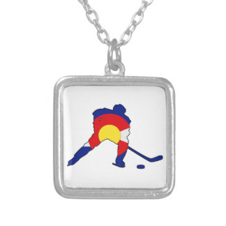 Hockey Player With Colorado Pride Silver Plated Necklace