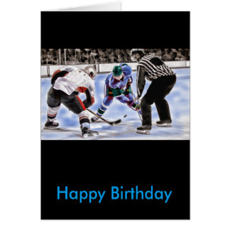 Hockey Players and Referee Face Off Card