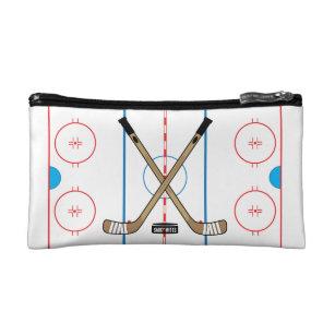 Hockey Rink Diagram Centre Ice Hockey Sticks Makeup Bag