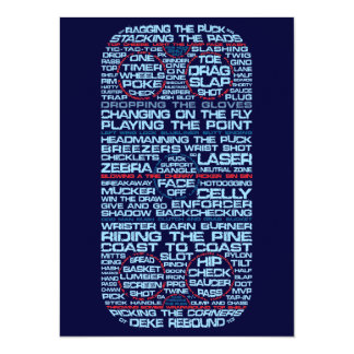 "Hockey Rink Typography Party Invitations 5.5"" X 7.5"" Invitation Card"