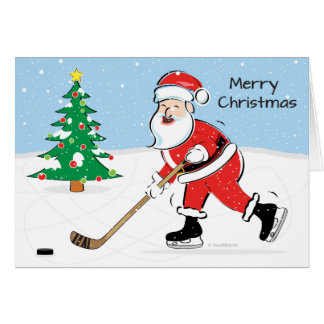 Hockey Santa Christmas Greeting Card