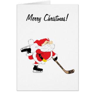 Hockey Santa Merry Christmas Card