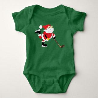 Hockey Santa Skating Christmas Baby Bodysuit