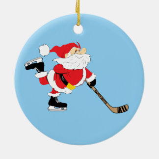 Hockey Santa Skating Christmas Ceramic Ornament