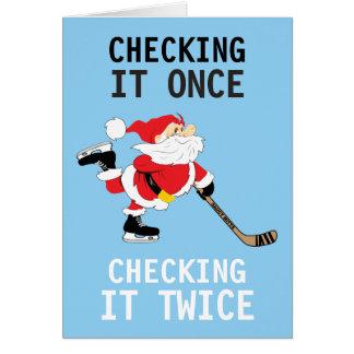 Hockey Santa Skating Christmas Checking It Once Card