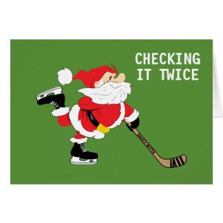Hockey Santa Skating Christmas Checking It Twice Card