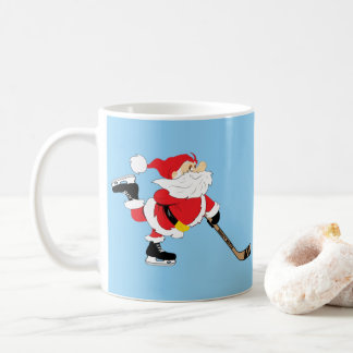 Hockey Santa Skating Christmas Coffee Mug