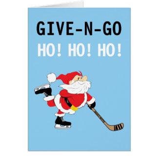 Hockey Santa Skating Christmas Give N Go Ho! Ho! Card