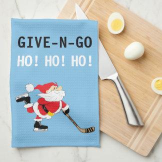 Hockey Santa Skating Christmas Give N Go Ho! Ho! Tea Towel