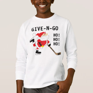 Hockey Santa Skating Christmas Give N Go T-Shirt