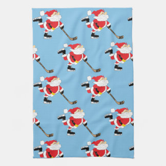 Hockey Santa Skating Christmas Kitchen Decor Tea Towel